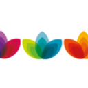 VC award logo, three colourful flower graphics