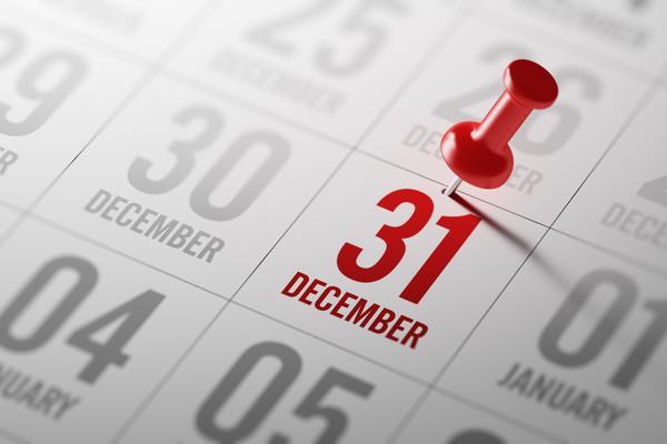 Calendar showing 31 December highlighed