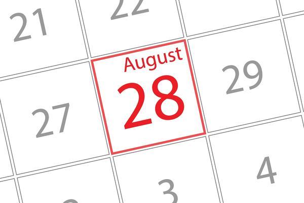 calendar highlighting august