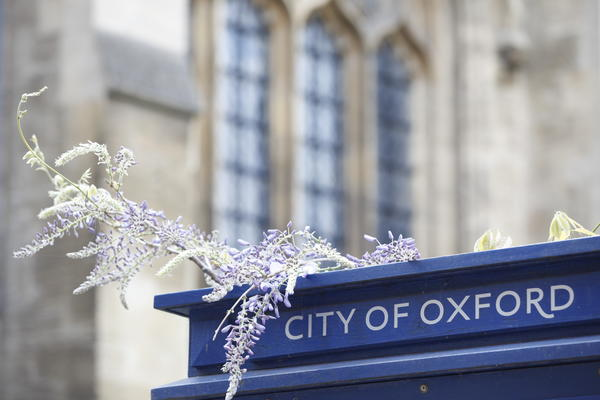 City of Oxford sign with flowers