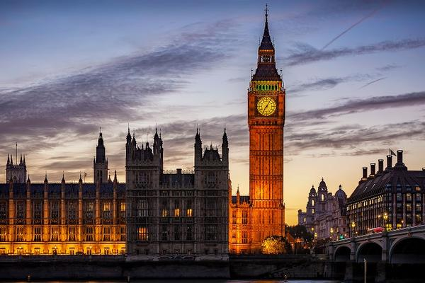 Westminster and Big Ben in a sunset