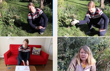 Four images of Dr Lindsay Turnbull talking her garden and home