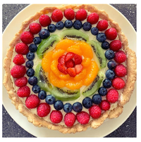 Homemade cake covered in fruits and berries